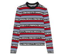 Verkürzter Pullover Aus Einer Baumwollmischung Mit Intarsienmotiv -