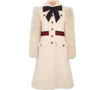 Tweed-mantel Aus Einer Baumwollmischung Mit Besatz Aus Shearling-imitat -