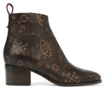 Ankle Boots Aus Geprägtem Leder -