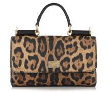 Lipstick Schultertasche Aus Strukturiertem Leder Mit Leopardenprint - Leoparden-Print