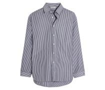 Oversized-hemd Aus Gestreifter Popeline - Navy