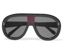 Verspiegelte Azetatsonnenbrille Mit D-rahmen - Schwarz