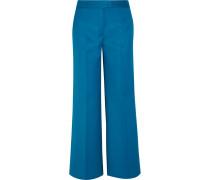 Verkürzte Hose Mit Weitem Bein Aus Woll-twill - Blau