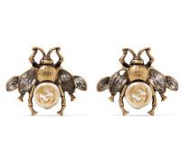 Brünierte farbene Ohrringe Mit Zierperle Und Kristallen