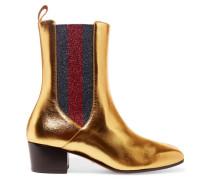 Chelsea Boots Aus Metallic-leder Und Strukturiertem Lamé -
