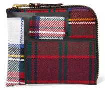 Kariertes Portemonnaie aus Wolle mit Tape-besatz -