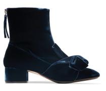 Ankle Boots Aus Samt Mit Knotendetail -