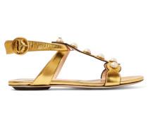 Verzierte Sandalen Aus Metallic-leder - Gold