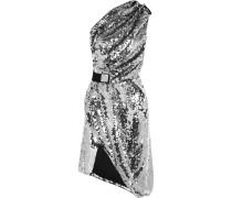 Kleid Aus Mesh Mit Pailletten Mit Asymmetrischer Schulterpartie - Silber