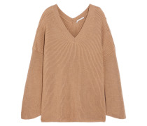 Oversized-pullover Aus Gerippter Wolle -