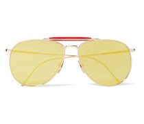 Verspiegelte Pilotensonnenbrille Mit Roséfarbenem Rahmen