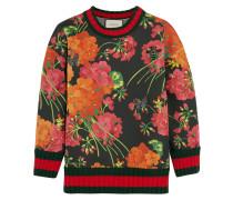 Sweatshirt aus bondiertem Baumwoll-Jersey mit Blumendruck