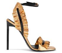 Edie Geraffte Metallic-sandalen Aus Leder Mit Schlangeneffekt -