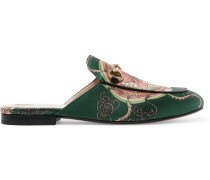 Princetown Slippers aus bedrucktem Satin mit Horsebit-Detail