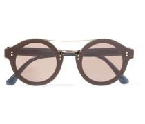Sonnenbrille Mit Runden Gläsern Aus Azetat Mit Glitter-finish Und Goldfarbenem Metall -