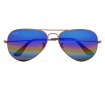 Aviator Verspiegelte Sonnenbrille Aus Metall In Glitteroptik - Bronze