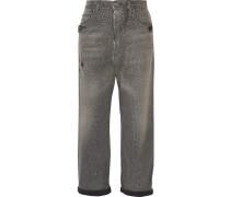 Hochsitzende Boyfriend-jeans Mit Glitter-effekt Und Distressed-optik - Grau