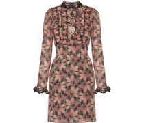 Bedrucktes Minikleid Aus Einer Baumwoll-seidenmischung Mit Rüschen -