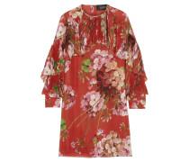 Minikleid Aus Seiden-georgette Mit Blumendruck - Ziegelrot
