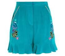 Sakura Bestickte Seiden-shorts Aus Crêpe De Chine - Hellblau