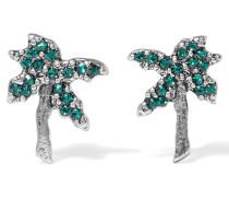 Palm Tree Silberfarbene Ohrringe Mit Swarovski-kristallen - Grün
