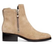 Alexa Ankle Boots Aus Veloursleder - Beige