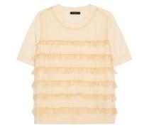 Waverly T-shirt Aus Merinowolle Mit Gerüschtem Tüll-besatz -