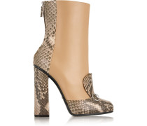 Ankle Boots Aus Pythonleder Und Leder Mit Horsebit-detail -