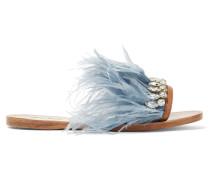 Pantoletten Aus Satin Und Leder Mit Swarovski-kristallen Und Federn - Himmelblau