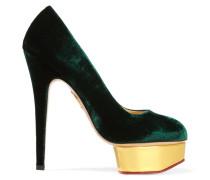 The Dolly Pumps Aus Samt - Smaragdgrün