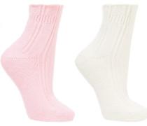 Bedsock Set aus zwei Socken aus Rippstrick