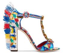 Bianca Verzierte Sandalen Aus Bedrucktem Lackleder Mit Besatz Aus Raffiabast -