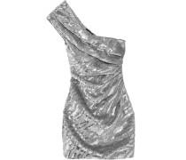 Paillettenverziertes Minikleid Aus Woll-crêpe Mit Asymmetrischer Schulterpartie - Silber