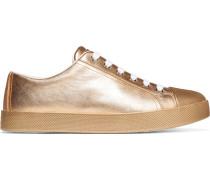 Sneakers aus strukturiertem Metallic-Leder