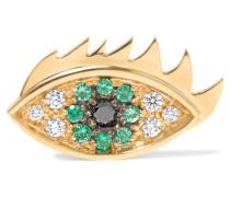 Ohrring Aus 18 Karat Gold Mit Diamanten Und Smaragden