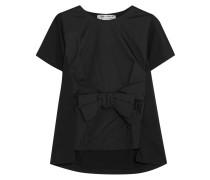 T-shirt Aus Baumwoll-jersey Und Satin Mit Schleifenverzierung -