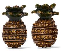 Pineapple Brünierte Goldfarbene Ohrringe Mit Swarovski-kristallen Und Emaille