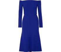 Schulterfreies Kleid Aus Crêpe Aus Einer Stretch-wollmischung - Königsblau