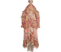 Gestuftes Neckholder-robe Aus Floral Bedrucktem Seidenchiffon Mit Rüschen -
