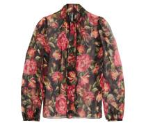 Rose Bedruckte Schluppenbluse Aus Seidenchiffon -