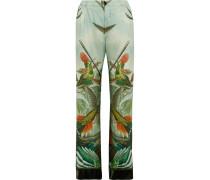 Etere Bedruckte Pyjama-hose Aus Seiden-twill Mit Samtbesätzen -