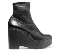 Bilou Ankle Boots Aus Leder Mit Keilabsatz - Schwarz