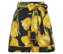 Bedruckte Shorts Aus Seiden-twill - Gelb