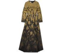 Bestickte Robe aus einer Wollmischung und Tüll in Metallic-optik