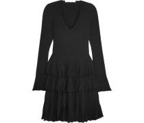 Sharlynn Minikleid Aus Geripptem Stretch-strick Mit Rüschen - Schwarz