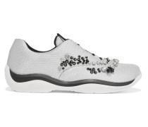 Sneakers Aus Mesh Mit Kristallverzierung - Silber