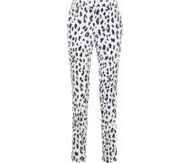 Seidenhose Mit Geradem Bein Und Leopardenprint -
