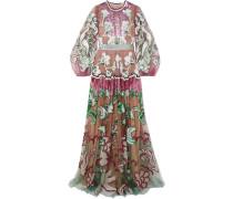 Bestickte Robe aus Tüll mit Verzierungen