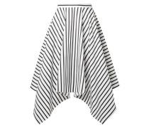 Asymmetrischer Gestreifter Midirock Aus Baumwollpopeline -