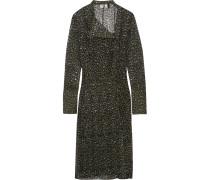 Rosalind Kleid Aus Seiden-georgette Mit Leopardenprint - Tannengrün